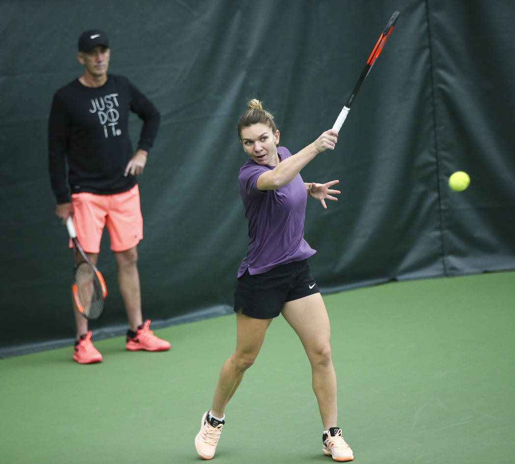 Tennis player Simona Halep trains with her coach Darren Cahill at Life Time Fitness in Henderson on Friday, March 2, 2018. Halep is preparing for the BNP Paribas Open in Indian Wells, Calif., whic ...
