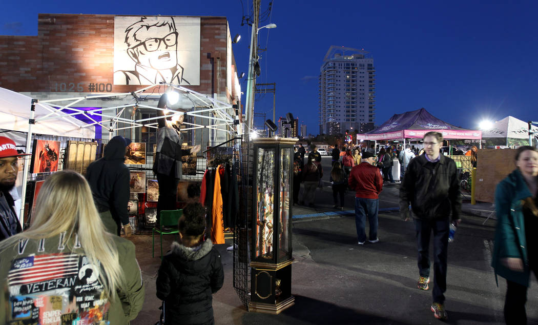 People browse booths during First Friday in downtown Las Vegas' arts district Friday, March 2, 2018. K.M. Cannon Las Vegas Review-Journal @KMCannonPhoto
