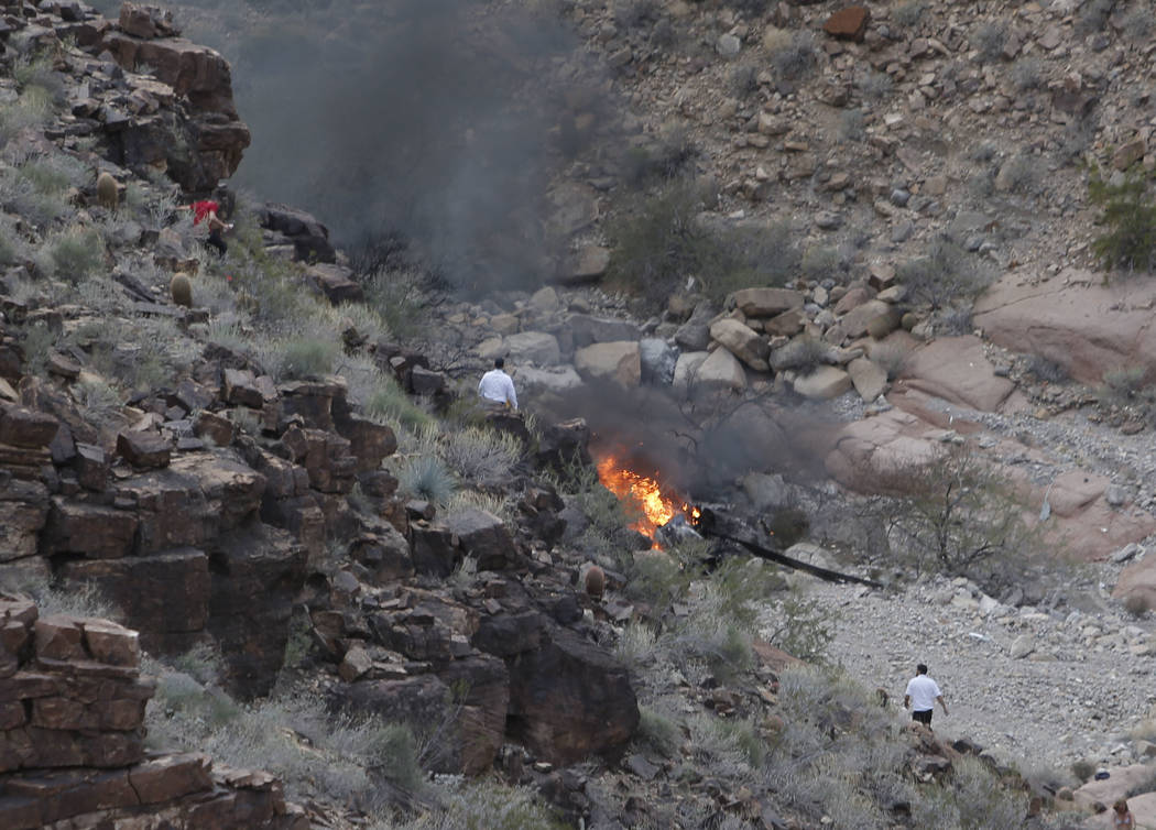 The scene of a deadly tour helicopter crash in the Grand Canyon, Arizona, Saturday, Feb. 10, 2018. The crash killed three people and injured four others.  Photo by Teddy Fujimoto