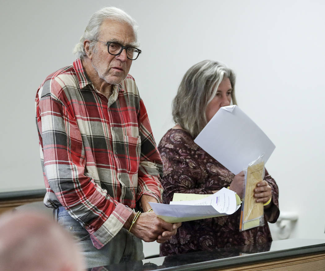 Daniel Panico, 73, and Mona Kirk, 51, appear in Joshua Tree Court, Friday March 2, 2018 in Joshua Tree, Calif. (Irfan Khan/Los Angeles Times via AP)