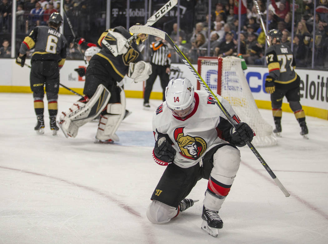 Ottawa Senators right wing Alexandre Burrows (14) celebrates goal against Vegas Golden Knights goaltender Marc-Andre Fleurylate in the third period of an NHL hockey game Friday, March 2, 2018, in  ...