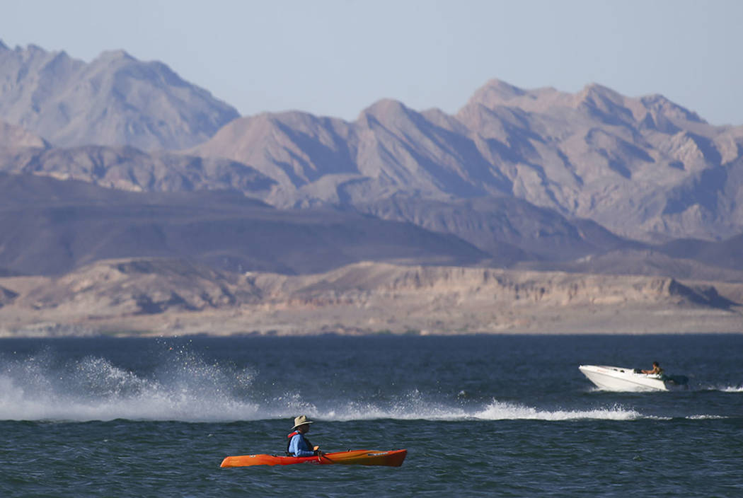 People enjoy the water at Lake Mead National Recreation Area on Tuesday, Aug. 15, 2017. (Chase Stevens Las Vegas Review-Journal)