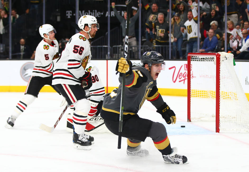 Golden Knights left wing David Perron (57) reacts after scoring on the Chicago Blackhawks during an NHL game at T-Mobile Arena in Las Vegas on Tuesday, Feb. 13, 2018. Chase Stevens Las Vegas Revie ...