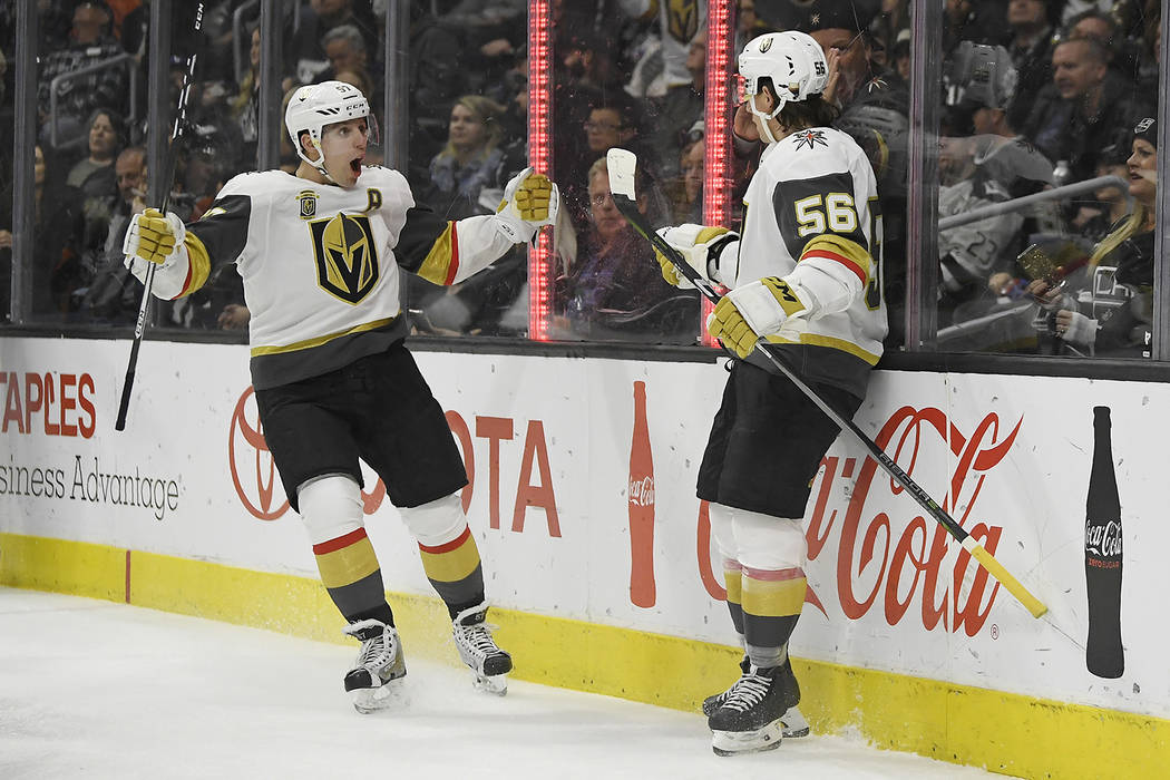 Vegas Golden Knights left wing Erik Haula, right, of Finland, celebrates his goal with left wing David Perron during the first period of an NHL hockey game against the Los Angeles Kings, Monday, F ...