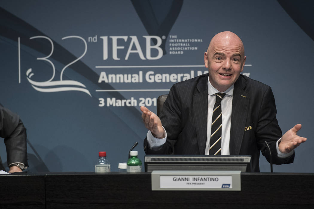 Fifa's president, Gianni Infantino speaks during the press conference of the 132nd IFAB Annual General Meeting at the Home of FIFA in Zurich, Switzerland, Saturday, March 3, 2018. (Ennio Leanza/Ke ...