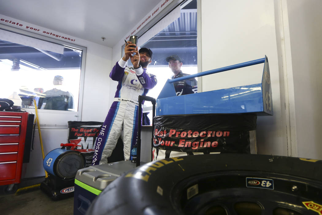 Monster Energy NASCAR Cup Series driver Darrell Wallace Jr. (43) takes a selfie with a fan at the Las Vegas Motor Speedway in Las Vegas on Saturday, March 3, 2018. Chase Stevens Las Vegas Review-J ...