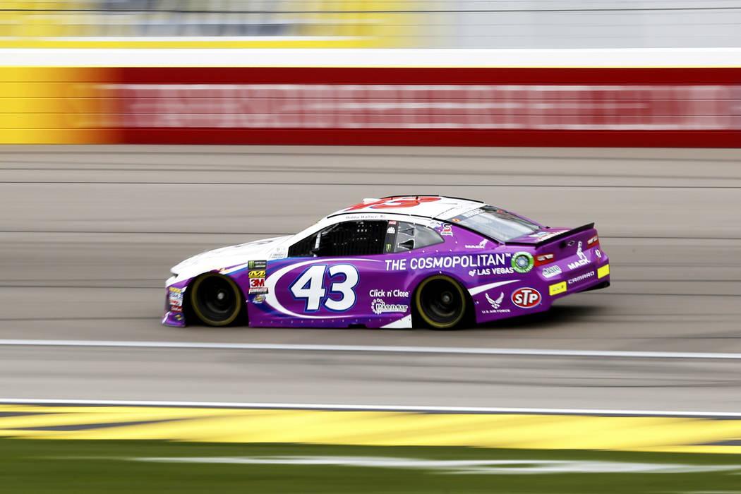 Bubba Wallace (43) practices at the Las Vegas Motor Speedway in Las Vegas on Saturday, March 3, 2018. Andrea Cornejo Las Vegas Review-Journal @DreaCornejo