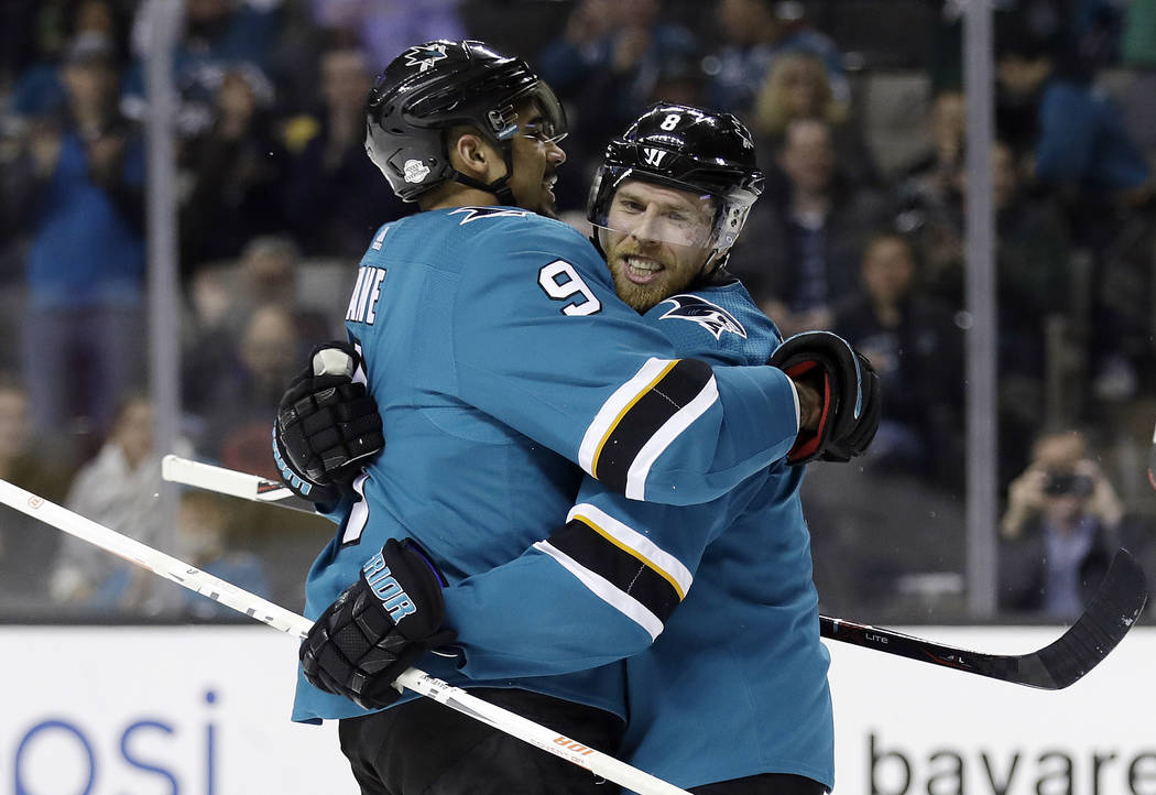San Jose Sharks' Joe Pavelski, right, celebrates his goal with teammate Evander Kane during the second period of an NHL hockey game against the Edmonton Oilers on Tuesday, Feb. 27, 2018, in San Jo ...