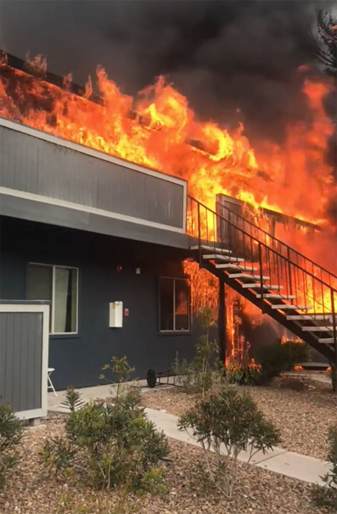 Flames engulf units at the Cornerstone Crossing Apartments in Las Vegas on Saturday. (Las Vegas Fire and Rescue via Twitter)