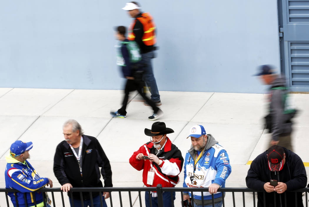 Fans walk around ahead of the NASCAR  Xfinity Series Boyd Gaming 300 auto race at the Las Vegas Motor Speedway in Las Vegas on Saturday, March 3, 2018. Andrea Cornejo Las Vegas Review-Journal @Dre ...