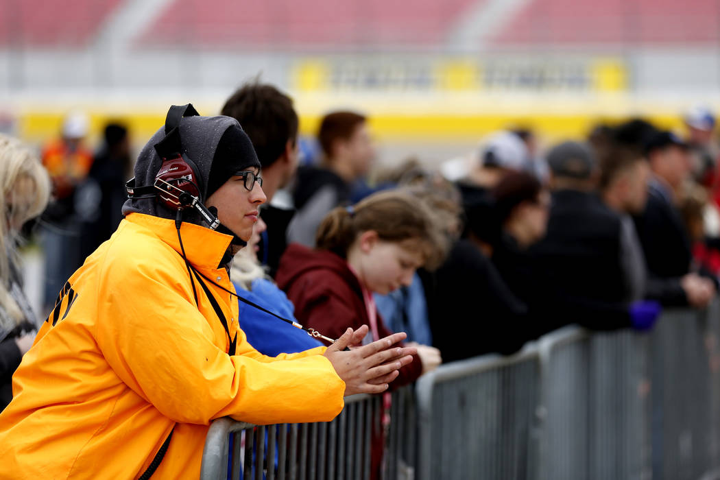 Attendees watch from the rails ahead of the NASCAR  Xfinity Series Boyd Gaming 300 auto race at the Las Vegas Motor Speedway in Las Vegas on Saturday, March 3, 2018. Andrea Cornejo Las Vegas Revie ...