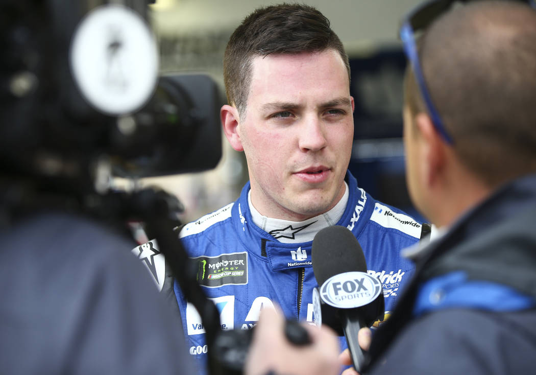 Monster Energy NASCAR Cup Series driver Alex Bowman (88) is interviewed at the Las Vegas Motor Speedway in Las Vegas on Saturday, March 3, 2018. Chase Stevens Las Vegas Review-Journal @csstevensphoto