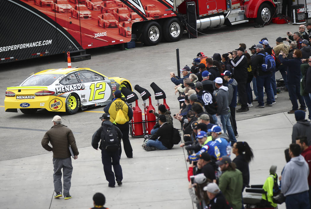 Monster Energy NASCAR Cup Series driver Ryan Blaney (12) heads to the track during practice at the Las Vegas Motor Speedway in Las Vegas on Saturday, March 3, 2018. Chase Stevens Las Vegas Review- ...
