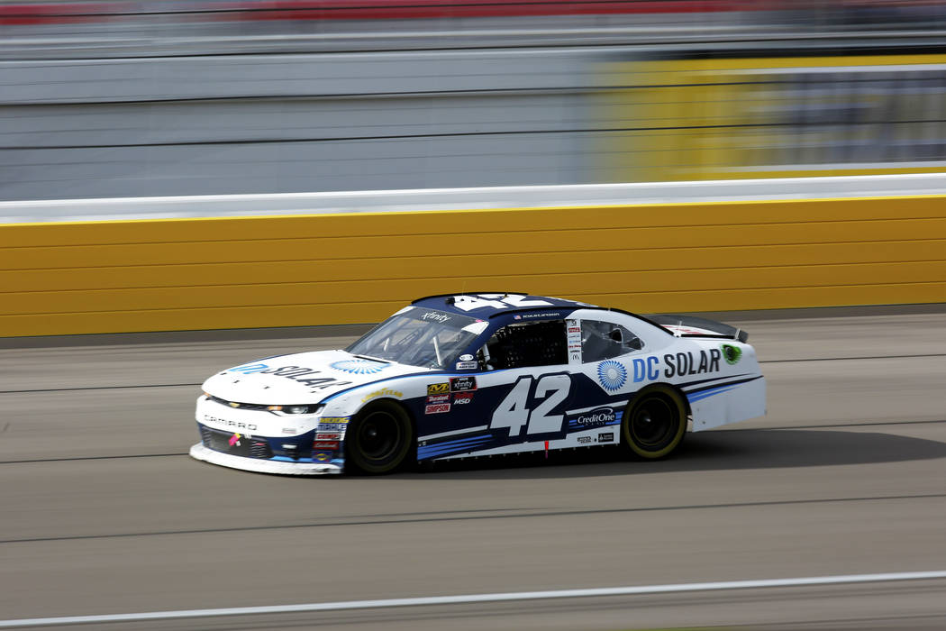 Kyle Larson (42) wins the NASCAR  Xfinity Series Boyd Gaming 300 auto race at the Las Vegas Motor Speedway in Las Vegas on Saturday, March 3, 2018. Andrea Cornejo Las Vegas Review-Journal @DreaCornejo