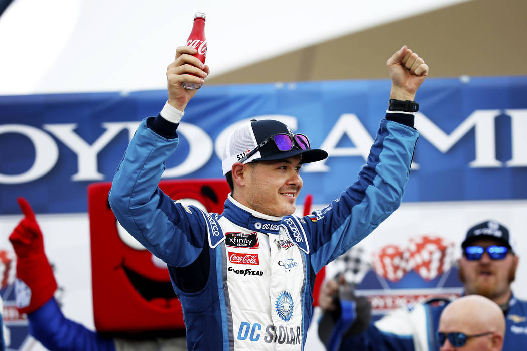 Kyle Larson (42) celebrates after winning the NASCAR  Xfinity Series Boyd Gaming 300 auto race at the Las Vegas Motor Speedway in Las Vegas on Saturday, March 3, 2018. Andrea Cornejo Las Vegas Rev ...