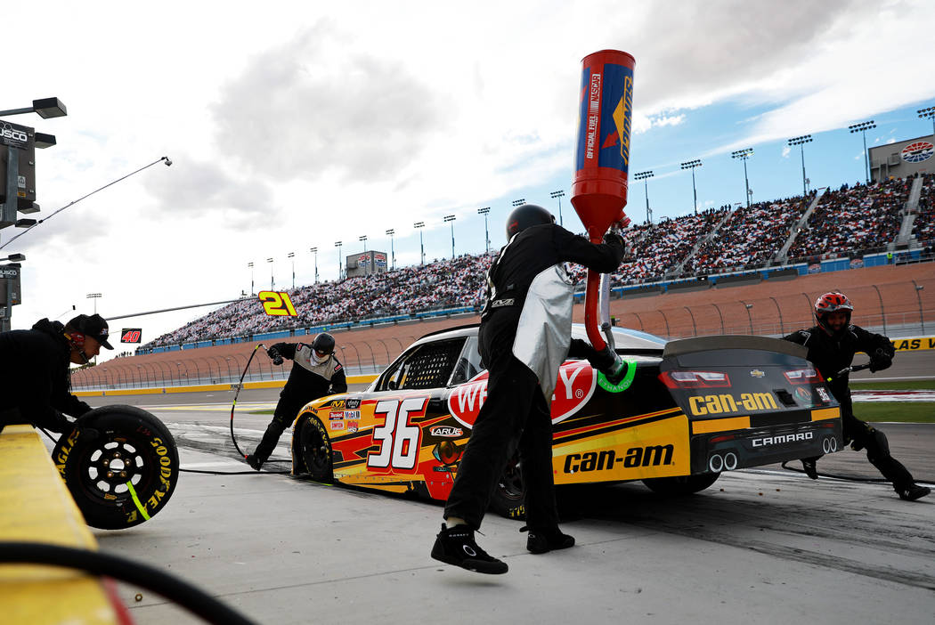 Alex Labbe's (36) pit crew works on his car during the NASCAR  Xfinity Series Boyd Gaming 300 auto race at the Las Vegas Motor Speedway in Las Vegas on Saturday, March 3, 2018. Andrea Cornejo Las  ...