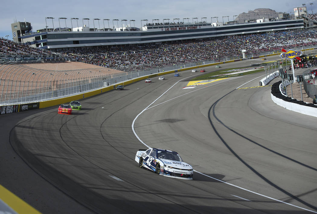 Kyle Larson (42) maintains a lead during the NASCAR Xfinity Series Boyd Gaming 300 auto race at the Las Vegas Motor Speedway in Las Vegas on Saturday, March 3, 2018. Chase Stevens Las Vegas Review ...