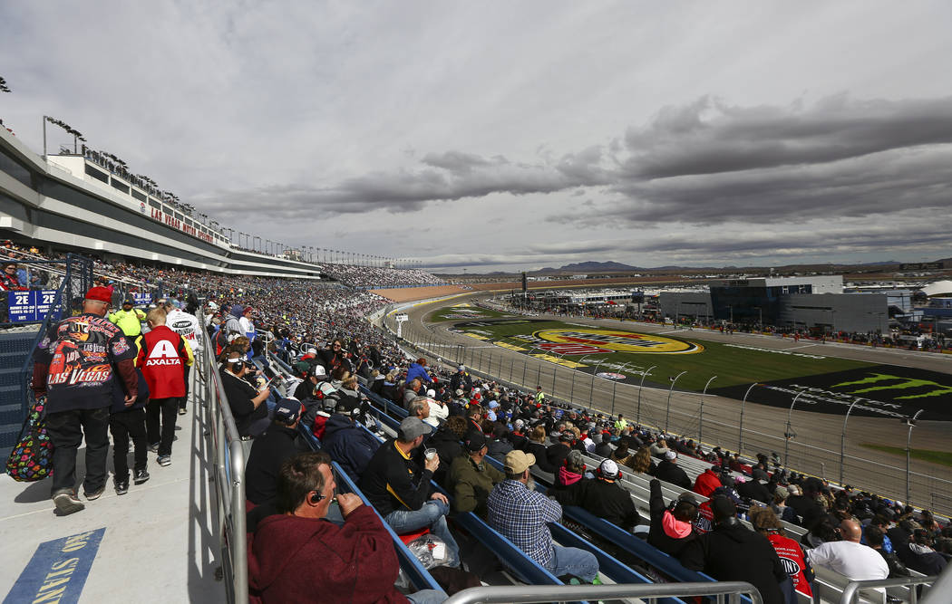 Race fans wait for the start of the NASCAR Xfinity Series Boyd Gaming 300 auto race at the Las Vegas Motor Speedway in Las Vegas on Saturday, March 3, 2018. Chase Stevens Las Vegas Review-Journal  ...