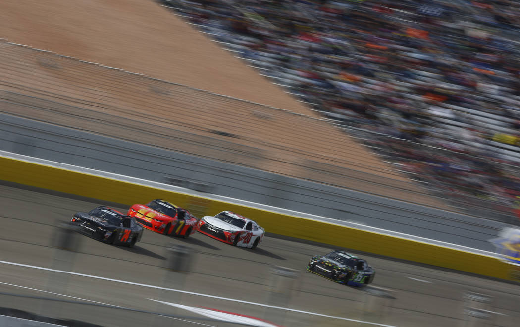 Drivers compete during the NASCAR Xfinity Series Boyd Gaming 300 auto race at the Las Vegas Motor Speedway in Las Vegas on Saturday, March 3, 2018. Chase Stevens Las Vegas Review-Journal @cssteven ...