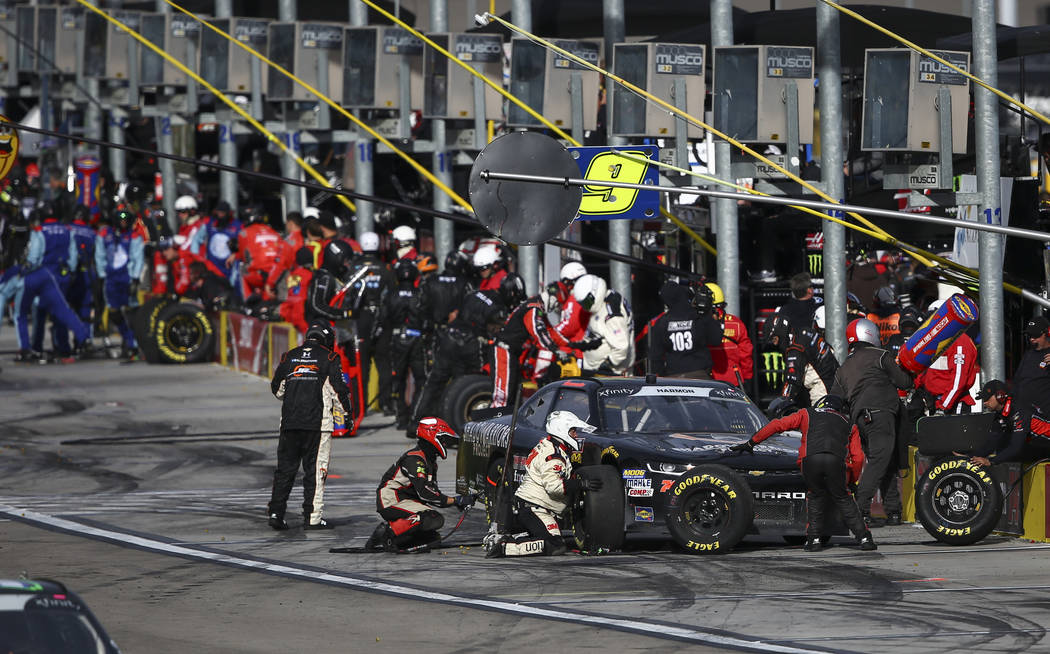 Mike Harmon (74) makes a pit stop during the NASCAR Xfinity Series Boyd Gaming 300 auto race at the Las Vegas Motor Speedway in Las Vegas on Saturday, March 3, 2018. Chase Stevens Las Vegas Review ...