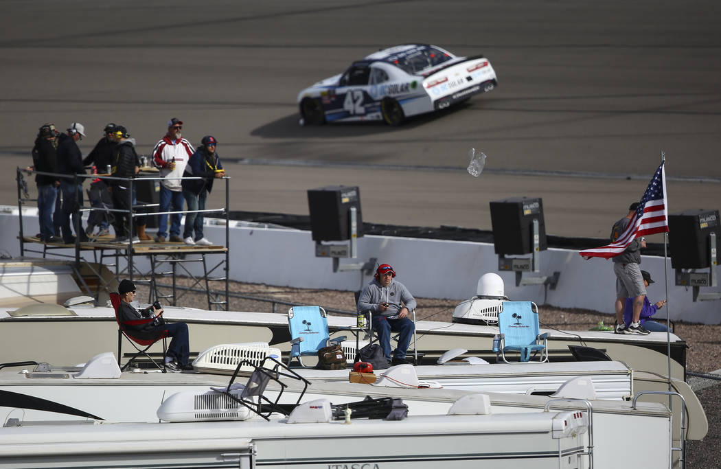 Race fans watch from the top of RVs during the NASCAR Xfinity Series Boyd Gaming 300 auto race at the Las Vegas Motor Speedway in Las Vegas on Saturday, March 3, 2018. Chase Stevens Las Vegas Revi ...