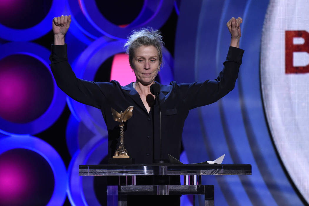 """Frances McDormand accepts the award for best female lead for """"Three Billboards Outside Ebbing, Missouri"""" at the 33rd Film Independent Spirit Awards on Saturday, March 3, 2018, in Santa M ..."""