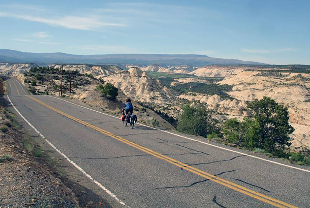 A biker rides along State Route 12 in Southern Utah. (Mark Davis/Las Vegas Review-Journal)