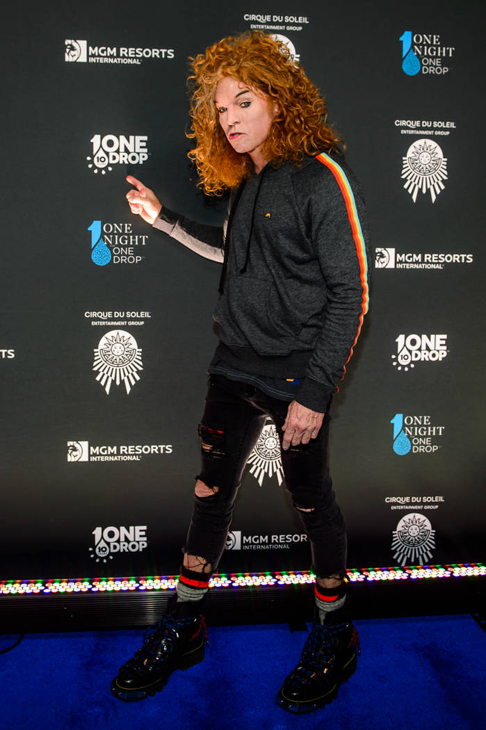 "Luxor headliner Carrot Top is shown on the blue carpet at ""One Night For One Drop"" on Friday, March 2, 2018. (Brenton Ho)"