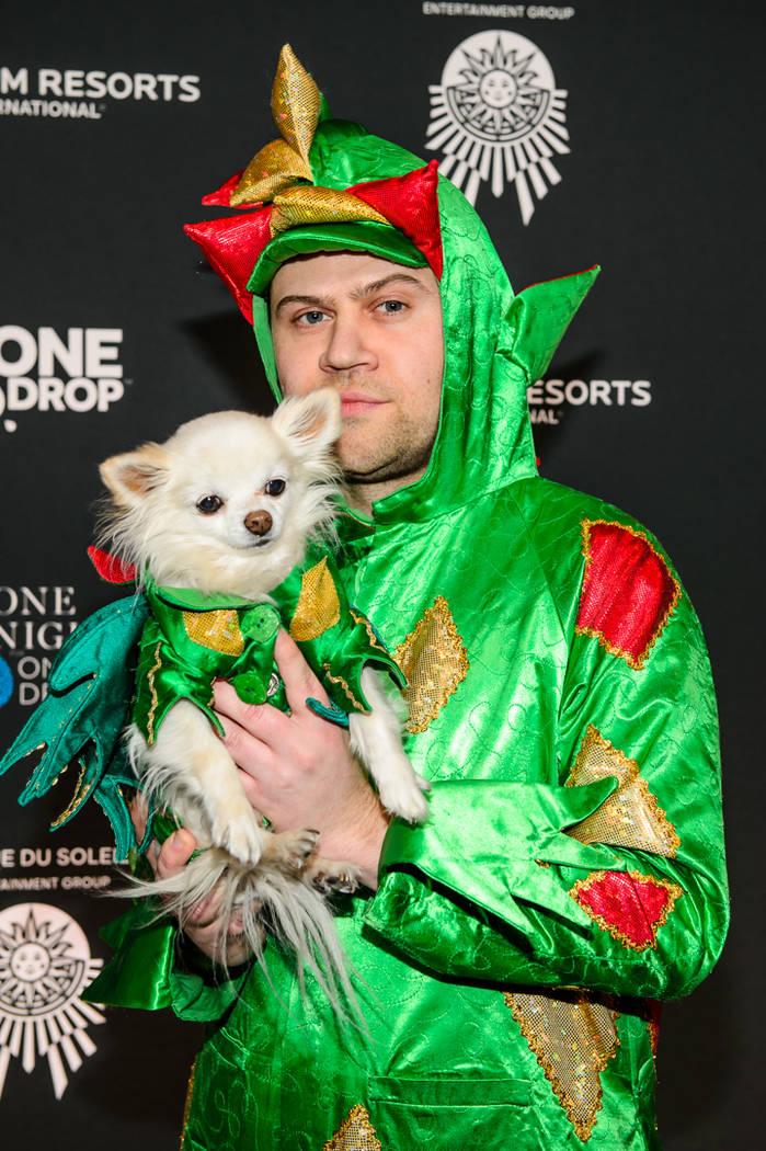 "Piff The Magic Dragon is shown landing during his appearance in ""One Night For One Drop"" on Friday, March 2, 2018. (Brendan Ho)"