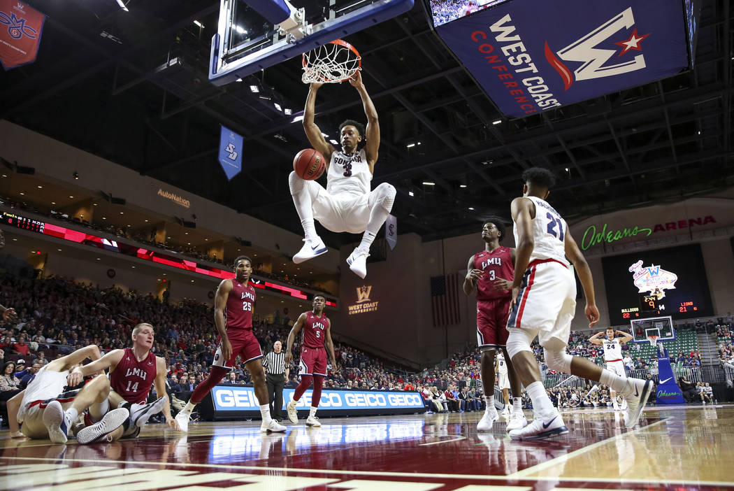 Gonzaga Bulldogs forward Johnathan Williams (3) dunks against the Loyola Marymount Lions during the West Coast Conference Basketball Tournament quarterfinals at the Orleans Arena  in Las Vegas on  ...