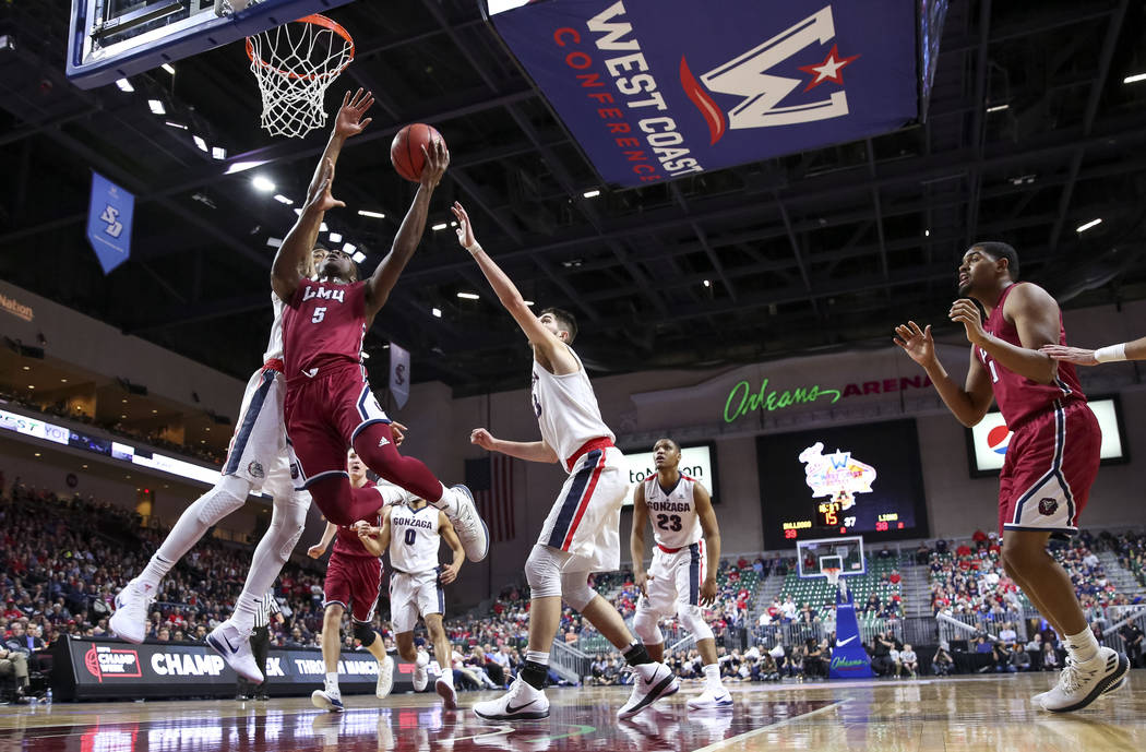 Loyola Marymount Lions guard James Batemon (5) goes up for a shot against the Gonzaga Bulldogs during the West Coast Conference Basketball Tournament quarterfinals at the Orleans Arena  in Las Veg ...
