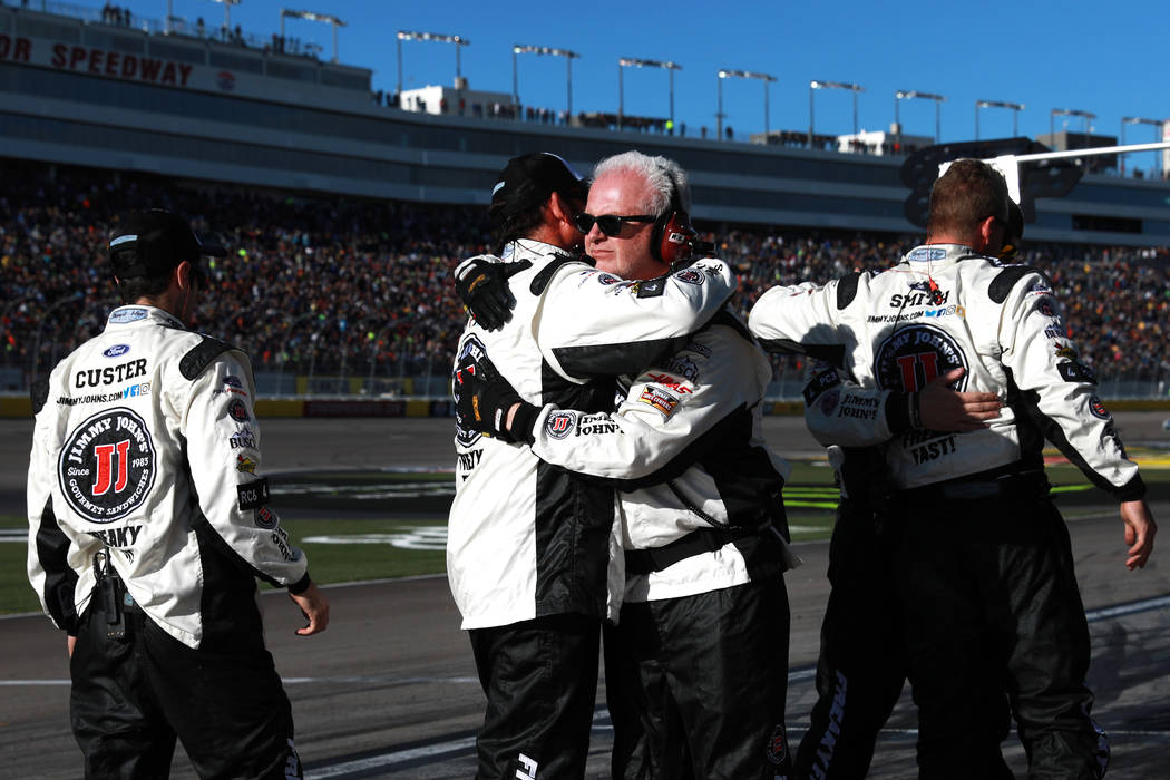 Kevin Harvick's (4) pit crew celebrates after he won the Monster Energy NASCAR Cup Series Pennzoil 400 auto race at the Las Vegas Motor Speedway in Las Vegas on Sunday, March 4, 2018. Andrea Corne ...