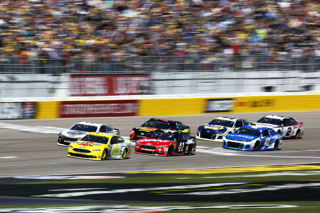 Drivers compete in the Monster Energy NASCAR Cup Series Pennzoil 400 auto race at the Las Vegas Motor Speedway in Las Vegas on Sunday, March 4, 2018. Andrea Cornejo Las Vegas Review-Journal @DreaC ...