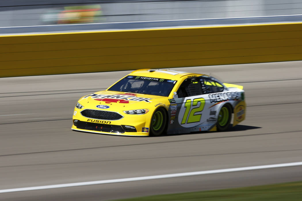 Ryan Blaney (12) competes in the Monster Energy NASCAR Cup Series Pennzoil 400 auto race at the Las Vegas Motor Speedway in Las Vegas on Sunday, March 4, 2018. Andrea Cornejo Las Vegas Review-Jour ...