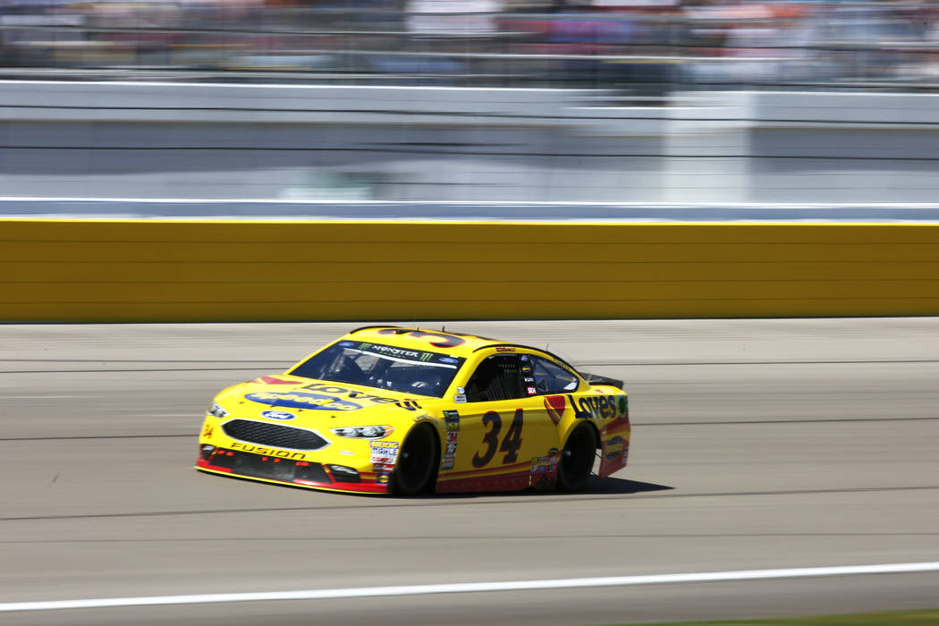 Michael McDowell (34) competes in the Monster Energy NASCAR Cup Series Pennzoil 400 auto race at the Las Vegas Motor Speedway in Las Vegas on Sunday, March 4, 2018. Andrea Cornejo Las Vegas Review ...