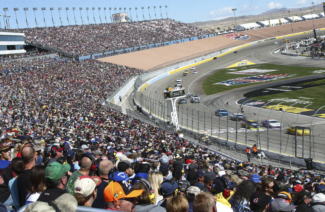 Drivers compete during the Monster Energy NASCAR Cup Series Pennzoil 400 auto race at the Las Vegas Motor Speedway in Las Vegas on Sunday, March 4, 2018. Chase Stevens Las Vegas Review-Journal @cs ...