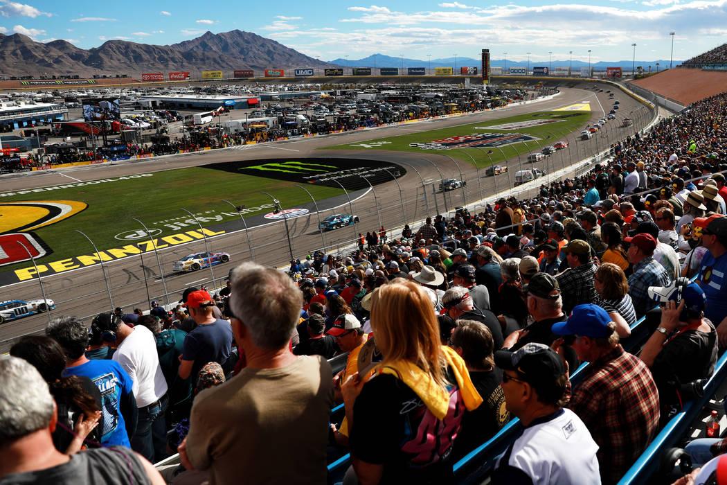 Fans watch the Monster Energy NASCAR Cup Series Pennzoil 400 auto race at the Las Vegas Motor Speedway in Las Vegas on Sunday, March 4, 2018. Andrea Cornejo Las Vegas Review-Journal @DreaCornejo