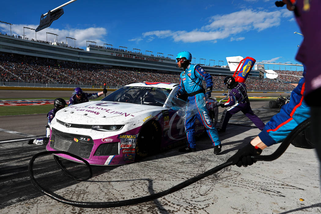 Darrell Wallace Jr. (43) makes a pit stop during the Monster Energy NASCAR Cup Series Pennzoil 400 auto race at the Las Vegas Motor Speedway in Las Vegas on Sunday, March 4, 2018. Andrea Cornejo L ...