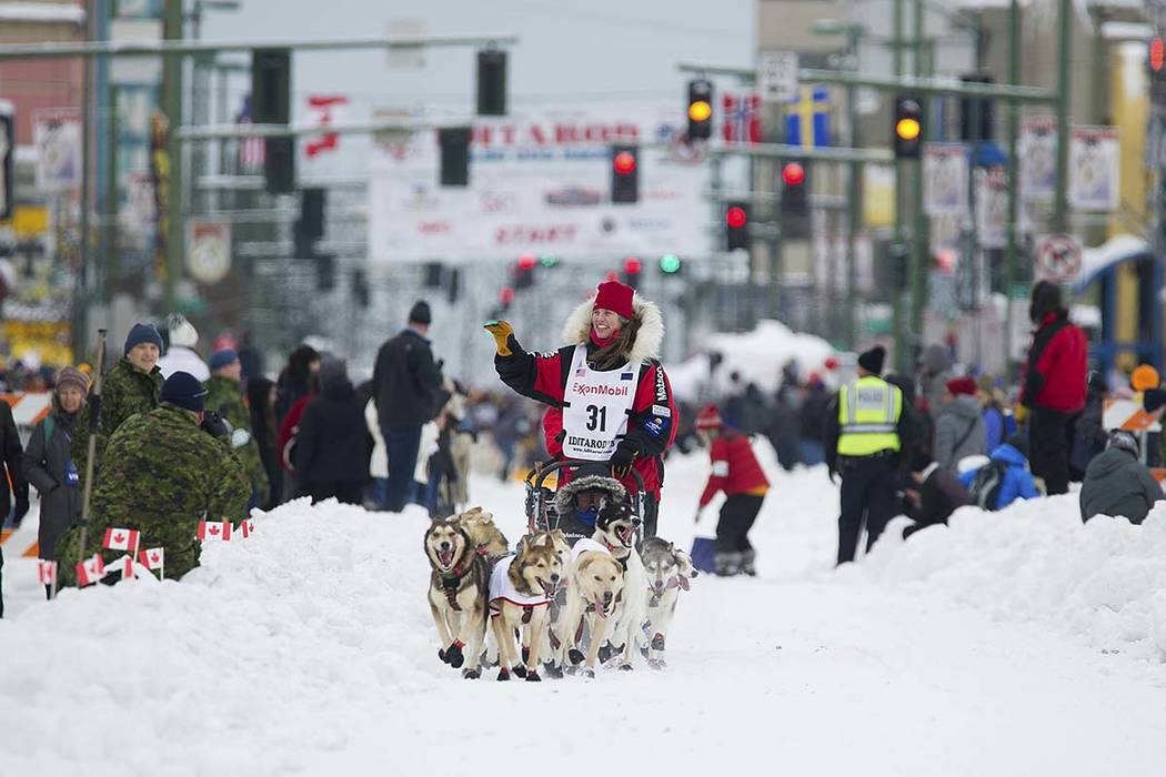 Musher Aliy Zirkle runs her team during the ceremonial start of the Iditarod Trail Sled Dog Race, Saturday, March 3, 2018, in Anchorage, Alaska. Zirkle has finished as high as second in the race.  ...