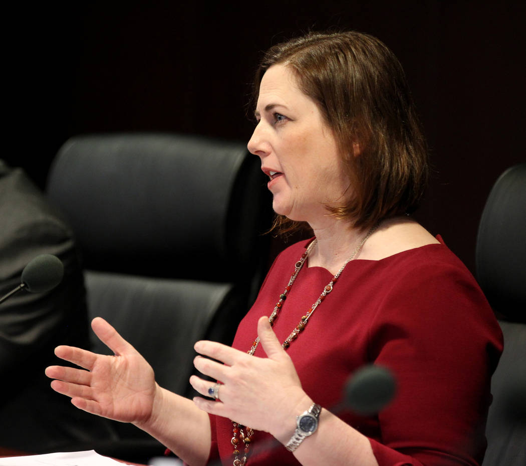 Gaming Control Board chairwoman Becky Harris asks a question of Alex Meruelo who was requisition a gaming license transfer for the SLS in the Sawyer Building in Las Vegas Wednesday, March 7, 2018. ...
