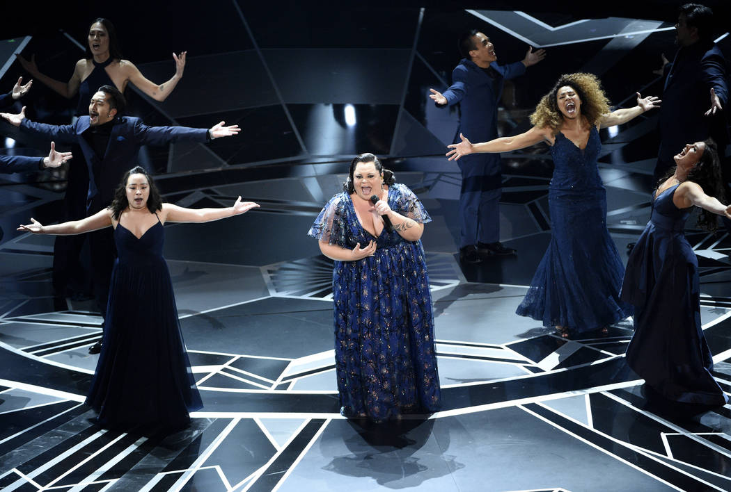 """Keala Settle performs """"This Is Me"""" from """"The Greatest Showman"""" at the Oscars on Sunday, March 4, 2018, at the Dolby Theatre in Los Angeles. (Photo by Chris Pizzello/Invision/AP)"""