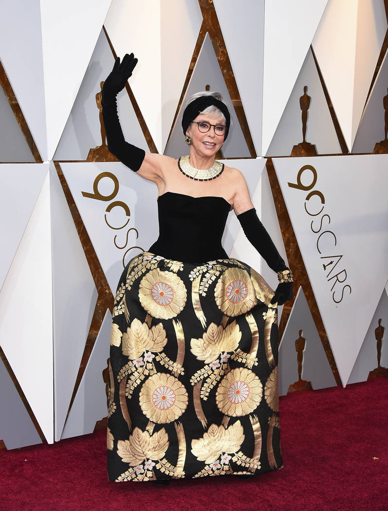 Rita Moreno arrives at the Oscars on Sunday, March 4, 2018, at the Dolby Theatre in Los Angeles. (Photo by Jordan Strauss/Invision/AP)