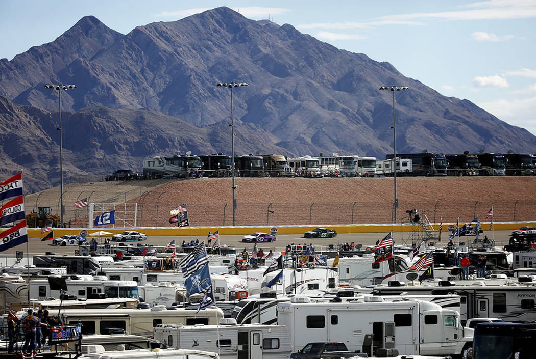 Fans on RVs watch the Monster Energy NASCAR Cup Series Pennzoil 400 auto race at the Las Vegas Motor Speedway in Las Vegas on Sunday, March 4, 2018. Andrea Cornejo Las Vegas Review-Journal @DreaCo ...