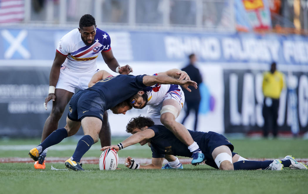 Argentina and United States players scrum during the HSBC USA Sevens rugby tournament Cup Final's in Las Vegas on Sunday, March 4, 2018. Richard Brian Las Vegas Review-Journal @vegasphotograph