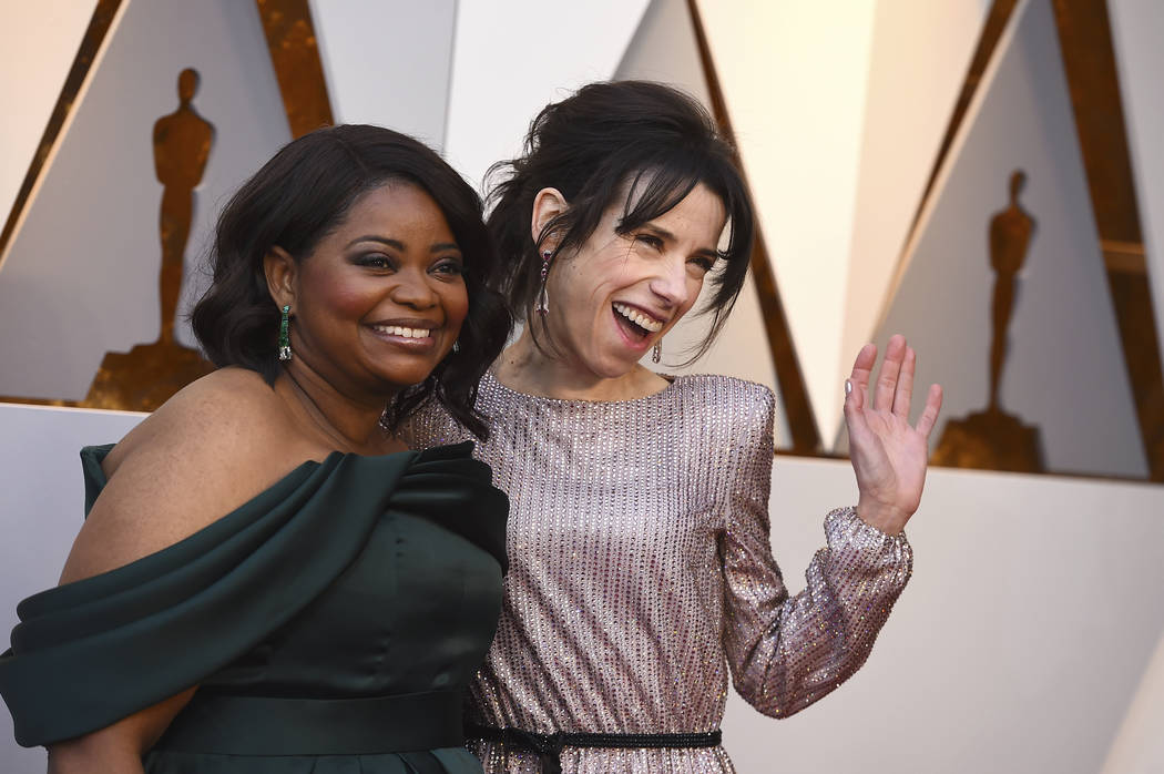 Octavia Spencer, left, and Sally Hawkins arrive at the Oscars on Sunday, March 4, 2018, at the Dolby Theatre in Los Angeles. (Photo by Jordan Strauss/Invision/AP)