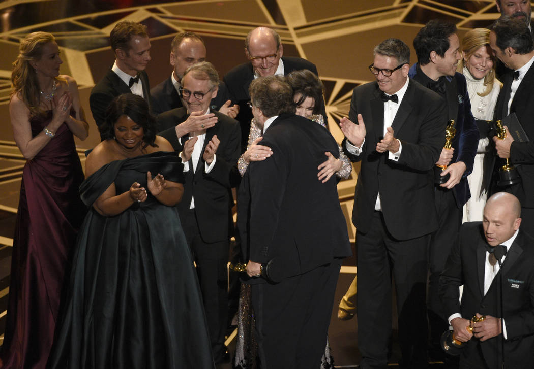 "Guillermo del Toro and the cast and crew of ""The Shape of Water"" accept the award for best picture at the Oscars on Sunday, March 4, 2018, at the Dolby Theatre in Los Angeles. (Photo by  ..."