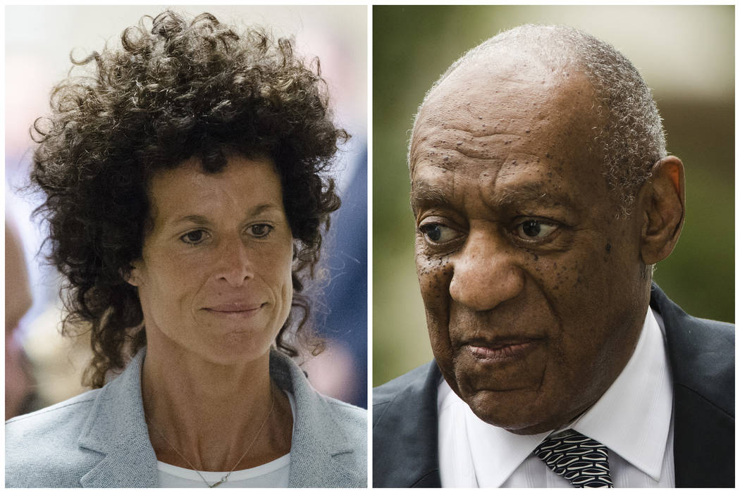 Bill Cosby is in a Monday, March 5, 2018, pretrial hearing leading up to the entertainer's retrial on charges he drugged and sexually assaulted Andrea Constand, left, at his home near Philadelphia ...