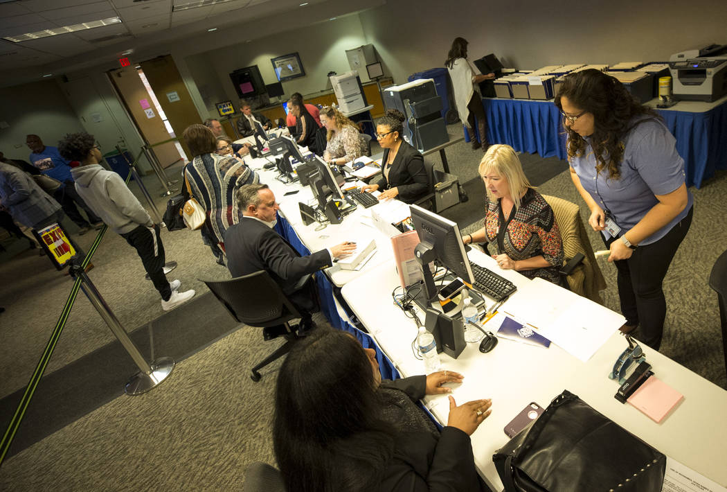 Candidates file for their respective offices at during the first day of candidate filing at the Clark County Government Center in downtown Las Vegas on Monday, March 5, 2018. Richard Brian Las Veg ...