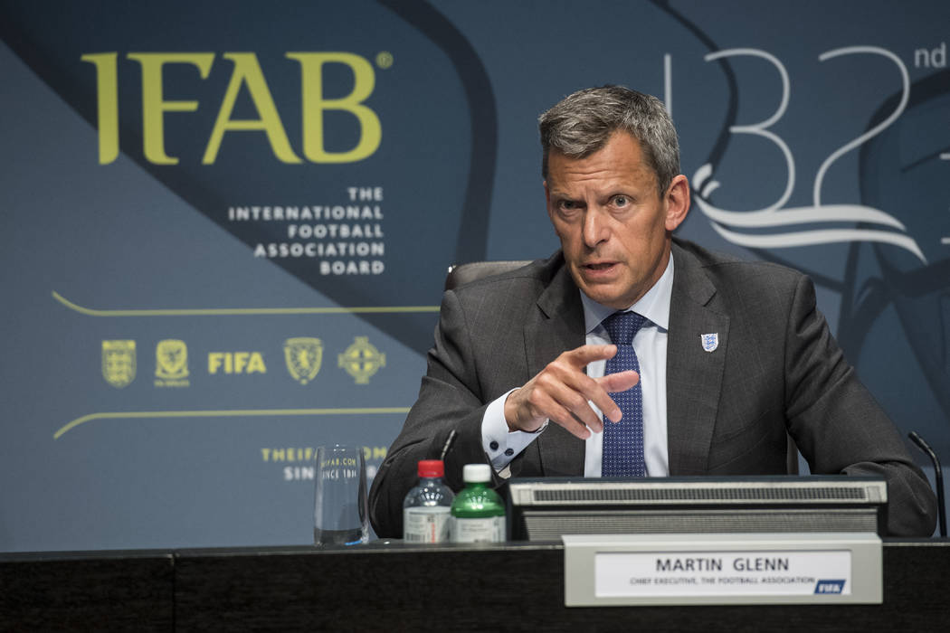 Martin Glenn, Chief Executive Football Association, speaks during the press conference of the 132nd IFAB Annual General Meeting at the Home of FIFA in Zurich, Switzerland, Saturday, March 3, 2018. ...