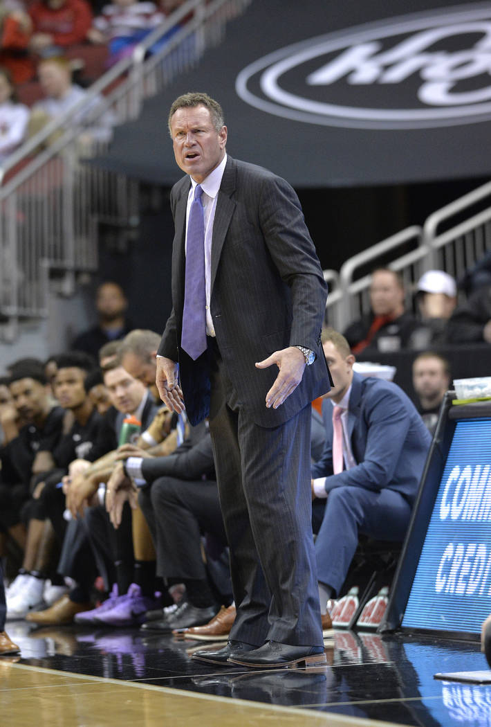 Grand Canyon head coach Dan Majerle watches his team during the second half of an NCAA college basketball game, Saturday, Dec. 23, 2017, in Louisville, Ky. Louisville won 74-56. (AP Photo/Timothy  ...